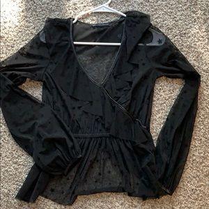 Black sheer star print blouse